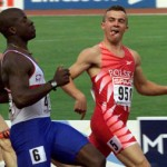 MARCIN NOWAK OF POLAND STICKS OUT HIS TONGUE IN THE 100 METRES IN BUDAPEST